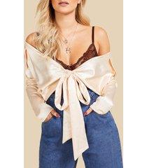 satijnen blouse met v-hals en utility zak, ecru