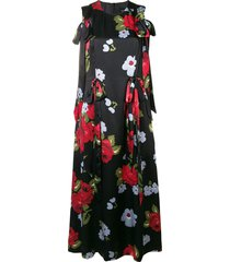 bow ribbon floral dress black