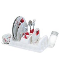 escorredor de pratos de plástico compacto rattan cor branco