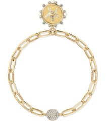 swarovski gold-tone crystal & imitation pearl starfish/dreamer water medallion magnetic link bracelet