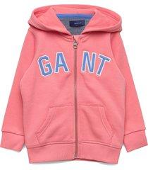 d1. gant logo full zip hoodie hoodie trui roze gant
