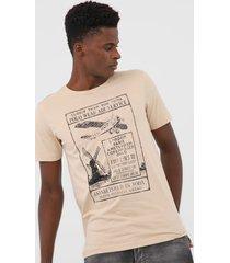 camiseta polo wear estampada bege