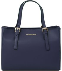 tuscany leather tl141434 aura - borsa a mano in pelle blu scuro