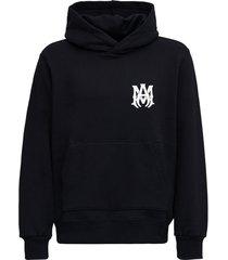 amiri black jersey hoodie with logo print