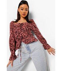 geplooide luipaardprint peplum blouse, rose
