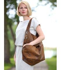 brązowa torba w kształcie worka z zamszu eko