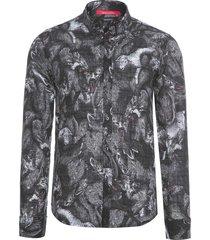 camisa masculina regular caos - preto