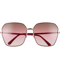 tom ford 62mm claudia square sunglasses in shiny bordeaux/brown gradient at nordstrom