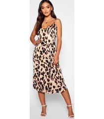 petite luipaardprint midi jurk met bandjes, bruin