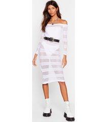 womens stop stripe now mesh midi dress - white