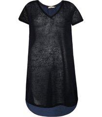 blusa khelf alongada arredondada azul marinho