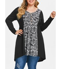 plus size printed long tunic t-shirt