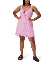 plus size trendy woven kiara tie front mini dress