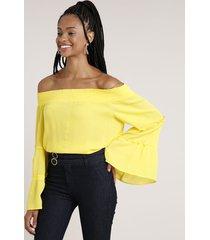 blusa feminina listrada ombro a ombro manga longa amarela