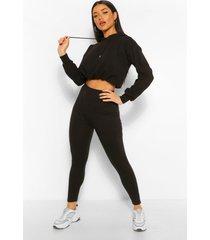 basic legging met hoge taille tot aan enkel, zwart