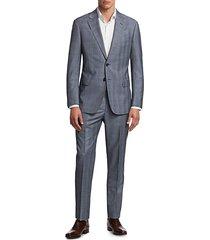 giorgio armani men's windowpane virgin wool suit - grey and blue - size 50 r