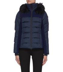 'surfusion' fur collar covershield hybrid puffer ski jacket