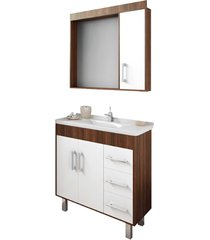 conjunto de banheiro são joão fit, castaine e branco, 80 cm