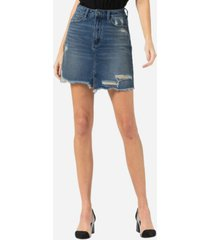 vervet distressed raw hem mini skirt