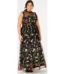 city studios trendy plus size ruffle-trim embroidered gown, created for macy's
