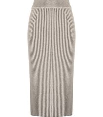 ami amalia ribbed merino pencil skirt - neutrals