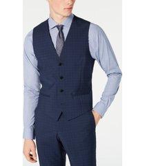 hugo hugo boss men's slim-fit dark blue micro-check suit vest