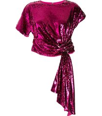 alice mccall asymmetric tie front top - pink