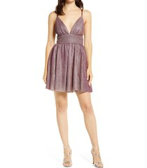 lulus stop the show glitter skater dress, size x-small in burgundy at nordstrom
