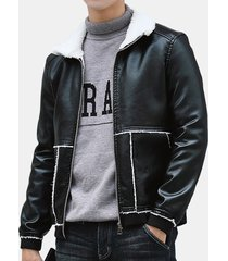 giacca in pelle con risvolto in tinta unita cappotto in pelliccia con ispessimento capispalla sottile giacca invernale in pu