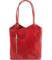 tuscany leather tl141497 patty - borsa donna in pelle convertibile a zaino rosso