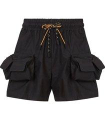 multi-pocket nylon bermuda shorts