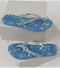 chinelo feminino havaianas flash sweet royal estampado paisley azul