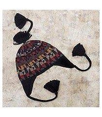 100% alpaca chullo hat, 'andean geometry' (peru)