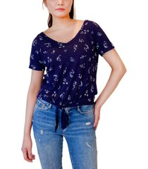 hippie rose juniors' tie-front v-neck top