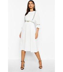 geborduurde midi jurk met mouwfranjes, wit