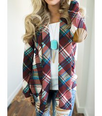 purple check lapel collar long sleeves cardigan