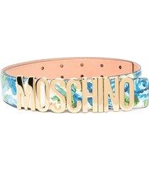 moschino logo-lettering floral-print belt - blue