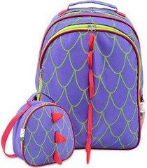 kit infantil mochila escolar mumagi + lancheira dragão masculino