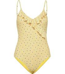 prinia frill swimsuit baddräkt badkläder gul becksöndergaard