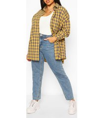 plus oversized brushed flannel shirt, mustard