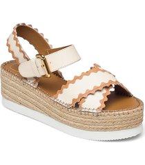 glyn sandalette med klack espadrilles beige see by chloé