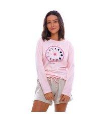 pijama short doll moon magic manga longa rosa/bege