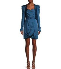 jonathan simkhai women's jordyn belted puff-sleeve dress - prussian blue - size 2