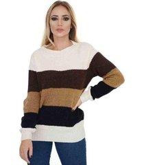 blusa livora tricot listras 4 cores feminina