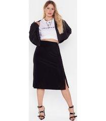 womens be side me slit plus jersey skirt - black