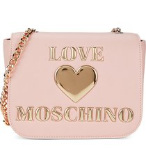 love moschino women's foldover crossbody bag - pink rose