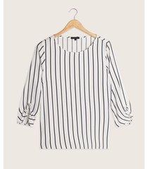 blusa manga 3/4 estampadaa rayas  con detalle  en puño