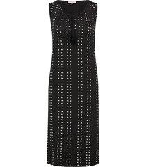 l.o.e.s. 20374 9011 loes dani spotted stripe dress black/off white zwart