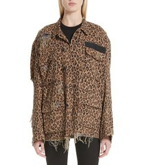 women's r13 shredded oversize leopard print jacket, size medium - brown