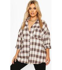 plus brushed flannel oversized boyfriend shirt, navy